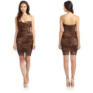 BCBGMaxazria Strapless Leopard Print Mesh Dress